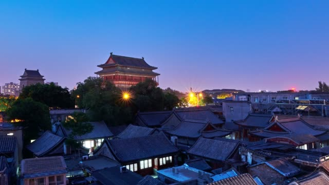 4k: beijing's old town at sunset to night time lapse, china - sunset to night time lapse stock videos & royalty-free footage