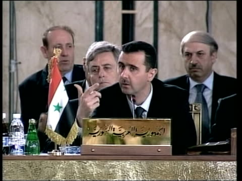 beirut int bashar alassad speech sot this initiative should affirm arabs' desire for peace and will expose the israelis who don't desire peace unless... - バッシャール・アル=アサド点の映像素材/bロール
