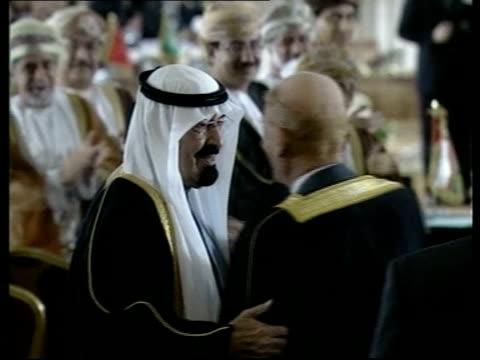 beirut int saudi crown prince abdullah embracing and kissing iraqi vice president ezzat ibrahim at arab summit - crown prince stock videos & royalty-free footage