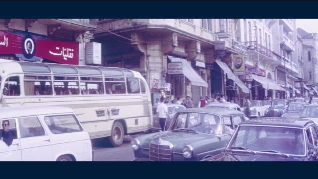 1968 beirut, lebanon - busy martyr's square and debbas square - beirut stock videos & royalty-free footage