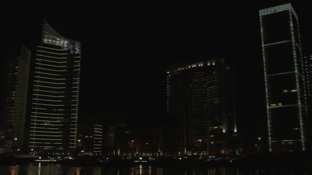 beirut marina view buildings at night - beirut stock videos & royalty-free footage
