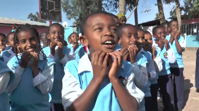 belachew girma holder of the world's record for the longest laugh goes to his academy to train his students how to laugh away their daily concerns in... - ethiopia stock videos & royalty-free footage