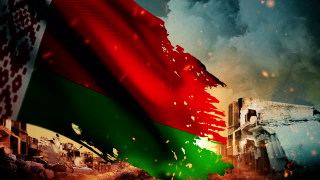 vidéos et rushes de 4k bélarus flag - crise / guerre / fire (boucle) - arme de destruction massive