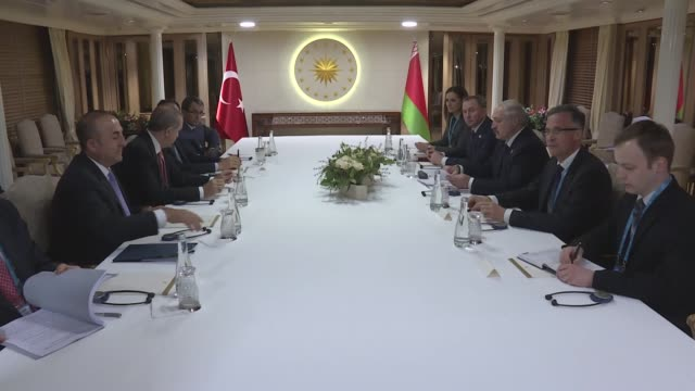 Belarusian President Alexander Lukashenko meets with Turkish President Recep Tayyip Erdogan in Istanbul Turkey on April 13 2016