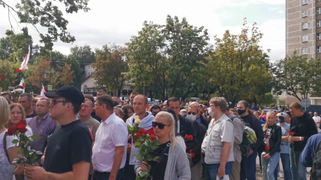 belarusian protester at makeshift memorial in minsk belarus on august 15 2020 belarusians attended a funeral for the protester alexander tarakhovsky... - makeshift stock videos & royalty-free footage