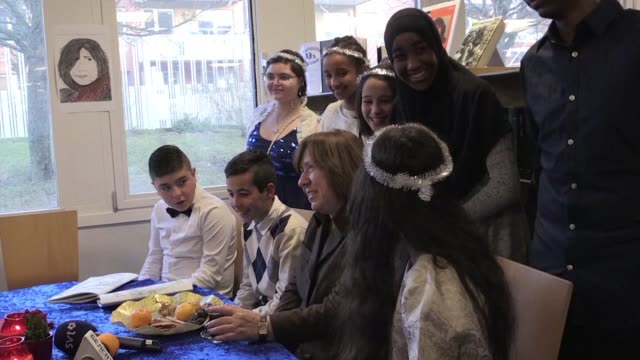 belarusian writer svetlana alexievich this years nobel literature prize winner visits a school in the suburbs of stockholm where the children all... - nobel prize in literature stock videos & royalty-free footage