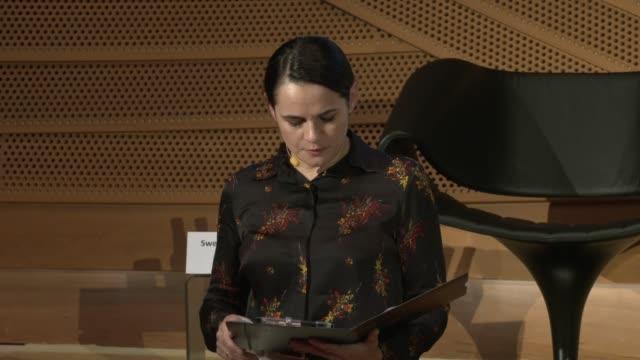 belarussian opposition leader svetlana tikhanovskaya speaks at the german society for east european studies on october 05, 2020 in berlin, germany.... - other stock videos & royalty-free footage