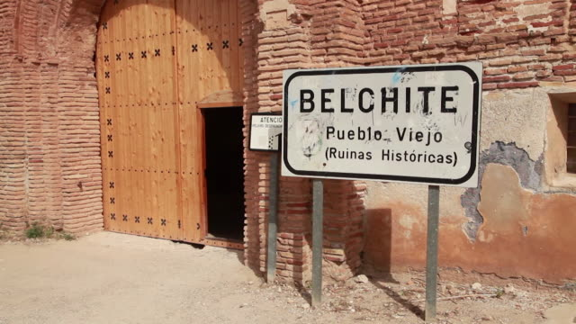 belchite village ruins - rubble stock videos & royalty-free footage