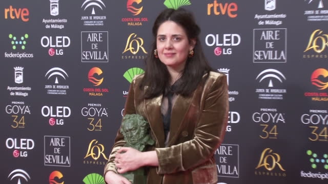belen funes holds the best new director award for the film la hija de un ladron during the 34rd edition of the goya cinema awards at jose maria... - hija stock videos & royalty-free footage