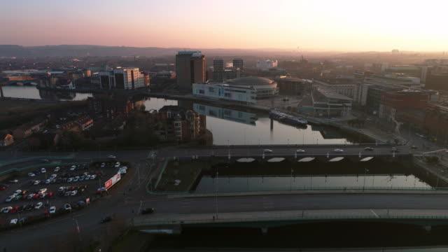 belfast aerial sunset series - river lagan stock videos & royalty-free footage