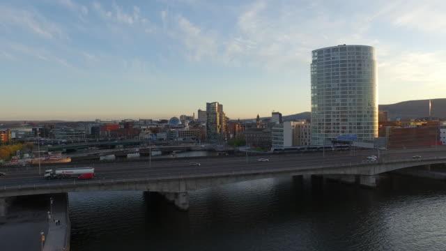 belfast aerial - river lagan stock videos & royalty-free footage