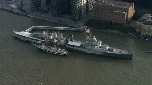 HMS Belfast  - Aerial View - England, Greater London, Southwark, United Kingdom