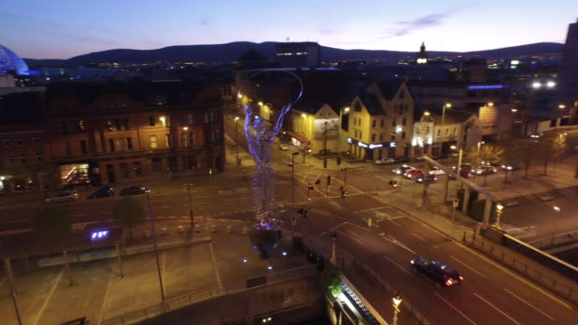 belfast city aerial river lagan - belfast stock videos & royalty-free footage
