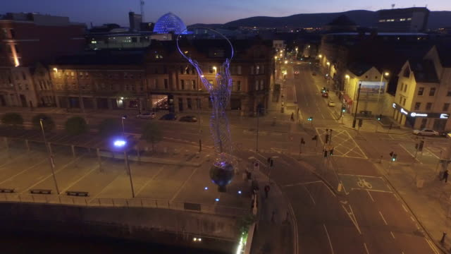 belfast city aerial river lagan - river lagan stock videos & royalty-free footage