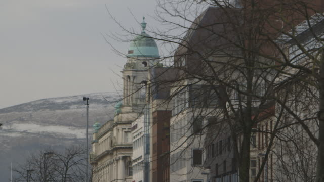 belfast city hall and snowy hill - belfast stock videos & royalty-free footage