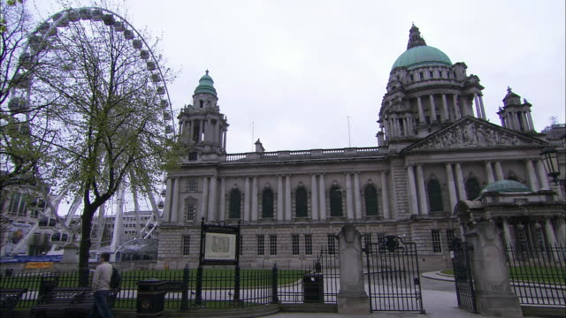 belfast city hall and wheel of belfast, northern ireland - belfast stock videos & royalty-free footage