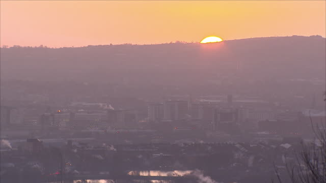 belfast city skyline at sunrise - belfast stock videos & royalty-free footage