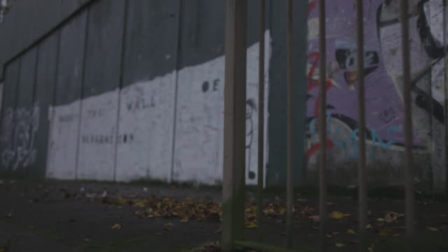 belfast graffiti walls - belfast stock videos & royalty-free footage