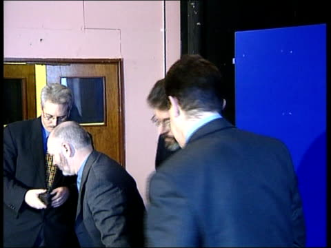 belfast: int gerry adams mla towards into press conference and takes seat gerry adams mla press conference sot - the time we are talking to the ira... - politics and government stock videos & royalty-free footage