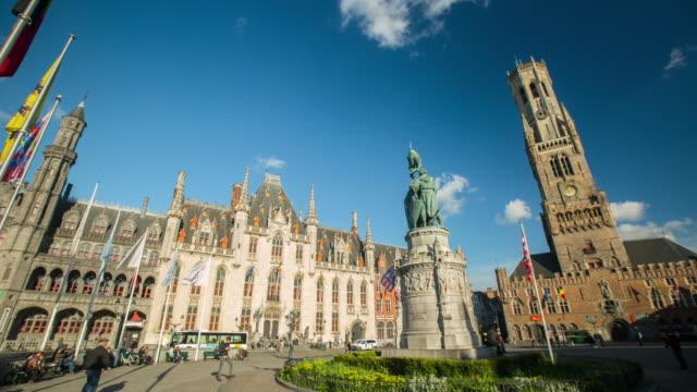 belfry of bruges - belgium stock videos & royalty-free footage