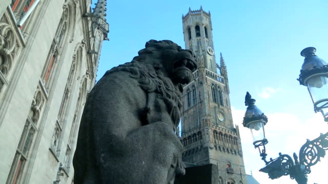 belfry of bruges - square stock videos and b-roll footage