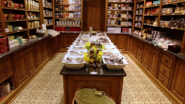 A Belgian chocolatier displays all kinds of sweets.