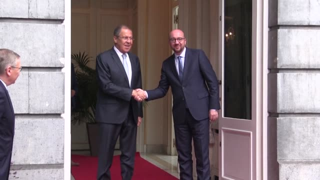 Belgian Prime minister Charles Michel receives Russian Foreign minister Sergey Lavrov at the Egmont Palace in Brussels