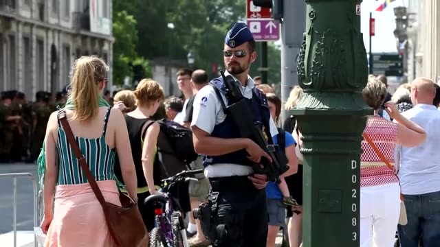 Belgian security forces tighten security measures during the Belgian National Day parade in Brussels Belgium on July 21 2016