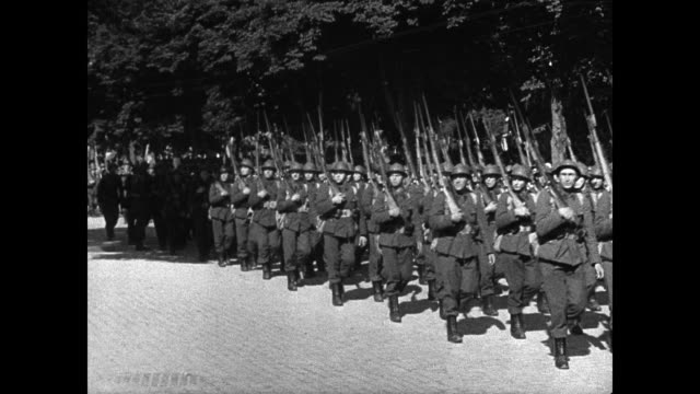 belgian soldiers marching ws king leopold iii of belgians saluting on horseback aides bg ms soldiers marching king leopold iii bg saluting wwii world... - 1939 stock videos & royalty-free footage