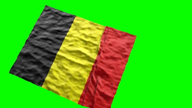 Belgian stadium flag. Waving on green screen