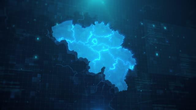 belgien karta med regioner mot blå animerad bakgrund 4k uhd - sociala frågor bildbanksvideor och videomaterial från bakom kulisserna