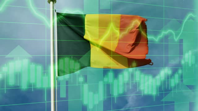 belgium national flag with positive growth chart and graph data. concept piece to indicate improving gdp, stock market crash, recession, depression, inflation, deflation, bull market, good national, economic and business performance - bull market stock videos & royalty-free footage