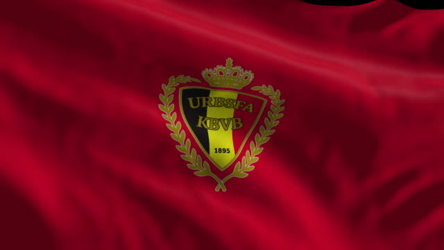 belgium national soccer team flag waving. computer generated animation for editorial use. seamlessly looped and close up. - loopable moving image stock videos & royalty-free footage