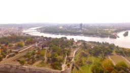 Belgrade panorama Kalemegdan park fortress areal video Serbia