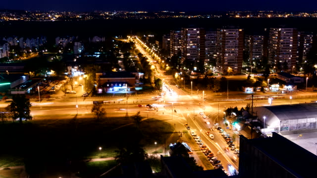 belgrade serbia by night time lapse - belgrade serbia stock videos and b-roll footage