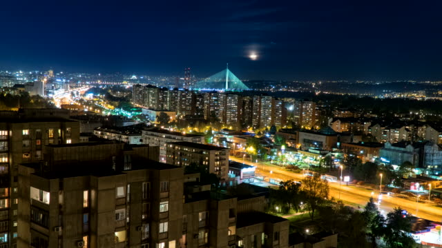 belgrade serbia by night time lapse - serbia stock videos & royalty-free footage