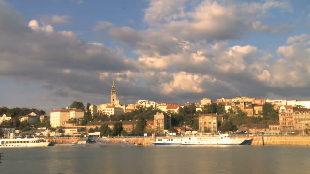 Belgrade Serbia old city river Sava sunset cloud timelapse