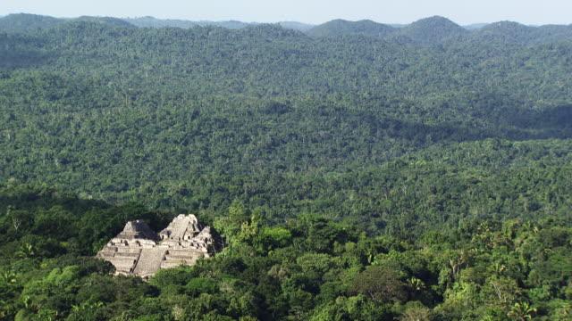 vídeos de stock, filmes e b-roll de belize: caracol maya temple - ruína antiga