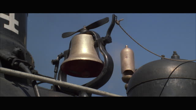 cu bell and steam whistle of steam train - bell stock videos and b-roll footage