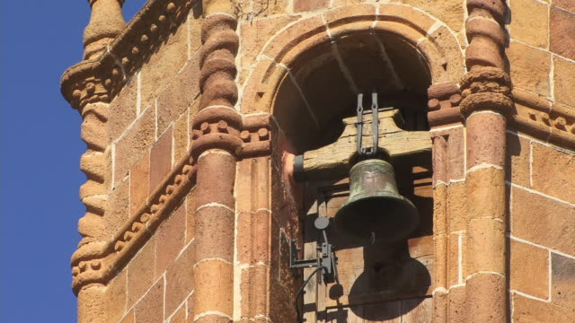 cu, bell in basilica de nuestra senora del pino tower, teror, gran canaria, canary islands, spain - bell tower tower stock videos and b-roll footage
