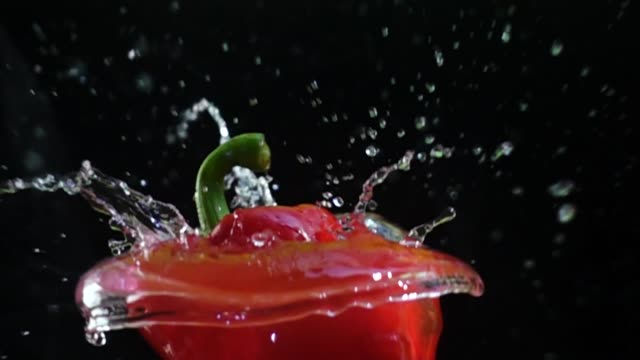 bell pepper splashing slow motion - super slow motion stock videos & royalty-free footage