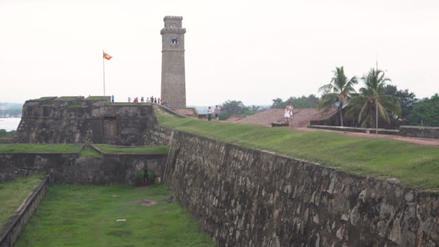bell tower and sri lanka flag at galle fort - sri lankan flag stock videos & royalty-free footage