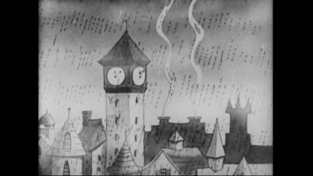 a bell tower chimes in the rain - anno 1933 video stock e b–roll