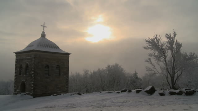 bell tower in fog - christianity stock videos & royalty-free footage