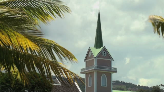 bell tower of polynesian biggest protestant church, papeete - tahitian culture stock videos and b-roll footage