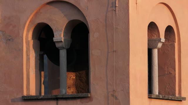 bell tower of the church in sonvico, ticino, switzerland - ベル点の映像素材/bロール