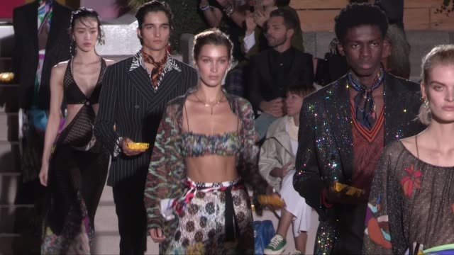 bella hadid and models on the runway for the missoni ready to wear spring summer 2020 fashion show in milan milan italy on saturday september 21 2019 - missoni stock videos & royalty-free footage