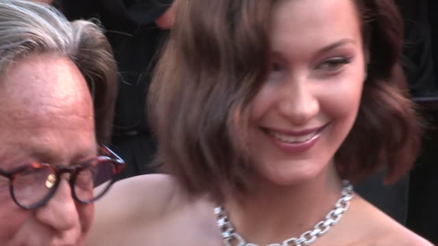 bella hadid and mohamed hadid on the red carpet of the opening ceremony of the 70th cannes film festival on may 17 2017 in cannes france - international cannes film festival stock videos & royalty-free footage
