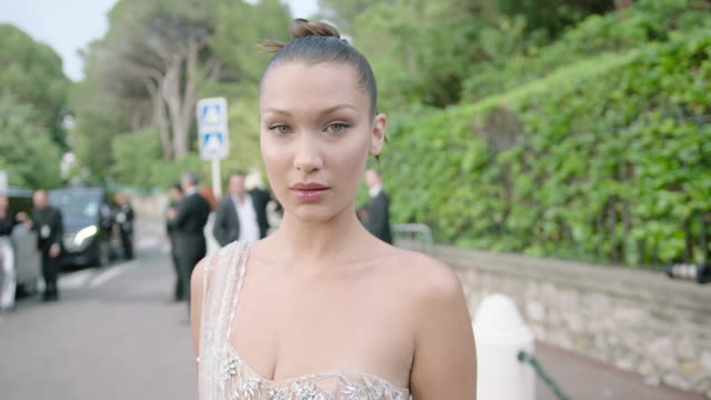 bella hadid at amfar gala cannes 2017 at hotel du capedenroc on may 25 2017 in cap d'antibes france - bella hadid stock videos & royalty-free footage