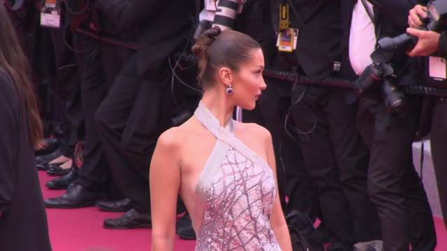 bella hadid at blackkklansmann red carpet arrivals the 71st cannes film festival at grand theatre lumiere on may 14 2018 in cannes france - bella hadid stock videos & royalty-free footage
